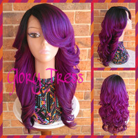 READY To SHIP // Long & Curly Lace Front Wig, Ombre Purple Wig, Dark Rooted Bombshell Wig // SALVATION (Free Shipping)