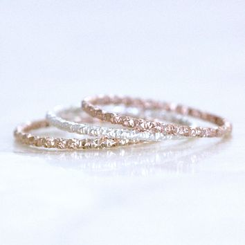 1mm Faceted Straight or Curved Bands