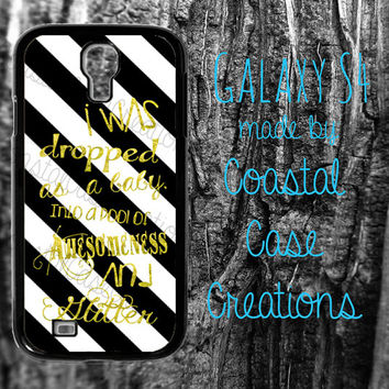 Black and White Striped with Gold Glitter Quote Samsung Galaxy S4  2 Piece Durable Cell Phone Case Cover Original Design