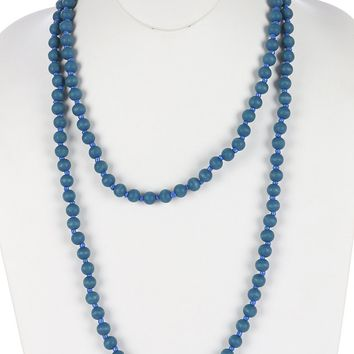 Blue Wooden Bead Extra Long Wraparound Necklace