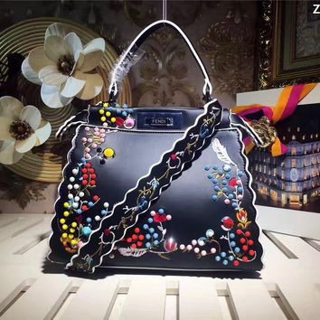 FENDI WOMEN'S EMBROIDERY LEATHER HANDBAG SHOULDER BAG