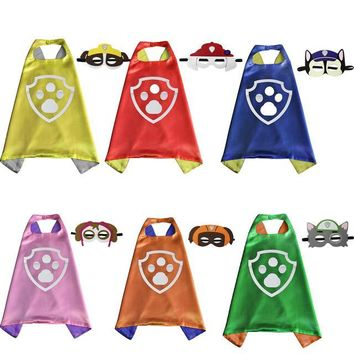 6sets /lot Capes with Masks Dog Patrol Paw Kids Superhero Double Cloak Children Birthday Party Gift Cosplay Halloween Christmas