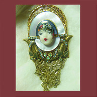 Let's Get Vintage - Marena & Eros Pins - Marena mother of pearl art deco face pin/pendant. Signed MARENA Handmade In Germany - Vintage Costume Jewelry