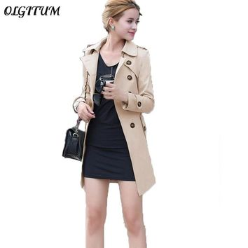 Spring New Female Double Breasted Coat Long Section Slim Thin Women Trench Coat Loose Casual Windproof with belt