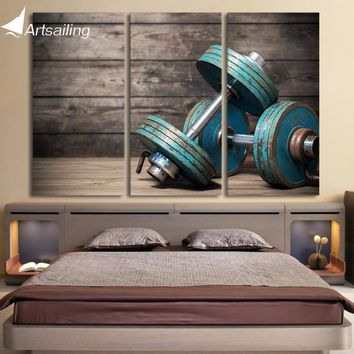 HD print 3 piece Canvas art Dumbbells fitness bodybuilding gym painting wall art free shipping / CU-1391C