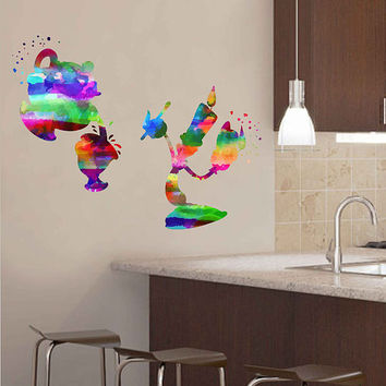 kcik2156 Full Color Wall decal Watercolor Character Disney Kettle candle Belle Beauty and the Beast children's room Sticker Disney