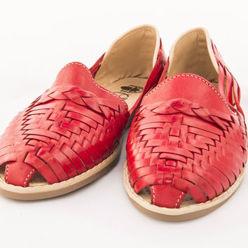 Mexican Huarache Sandals - Women's Colonial Style Red