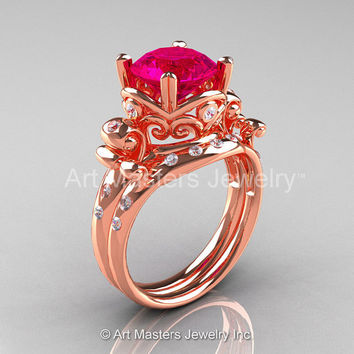 Art Masters Vintage 14K Rose Gold 3.0 Ct Rose Ruby Diamond Wedding Ring Set R167S-14KRGDRR
