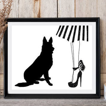 Printable art, Dog print, Woman legs, Red shoes, Striped skirt, German shepherd, Fashion wall decor, Greeting card, Black white, High heels