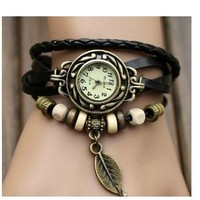 WAWO Fashion Accessories Trial Order New Quartz Fashion Weave Wrap Around Leather Bracelet Lady Woman Wrist Watch Black
