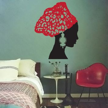 African Woman With Vintage Earrings Wall Sticker
