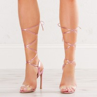 Strap Up Ankle Heeled Sandals in Rose Gold, Pink Hologram and White Hologram