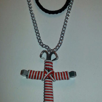 Red and white candy cane wire wrapped horseshoe nail cross necklace jewelry