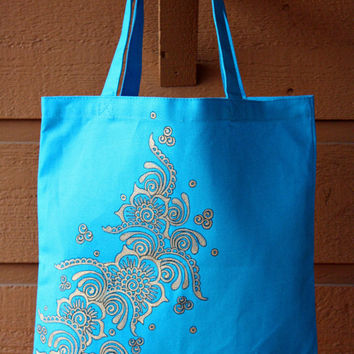 SALE - Bright Blue Tote Bag with Gold Henna Design Book Bag Beach Bag