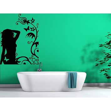 Vinyl Decal Silhouette Girl Butterfly Flower Ornament Wall Sticker Unique Gift (n621)