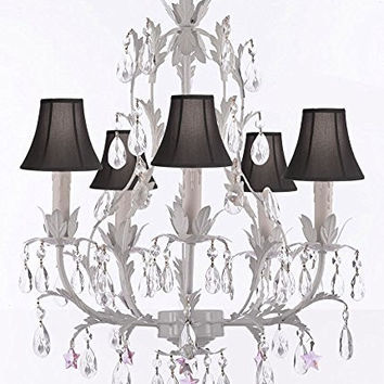 White Wrought Iron Floral Chandelier Lighting W/ Pink Stars And Shades! - G7-Sc/Blackshade/B38/White/407/5
