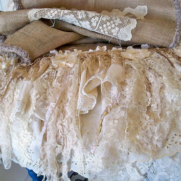 Handmade burlap lace runner up upcycled linen by AnitaSperoDesign
