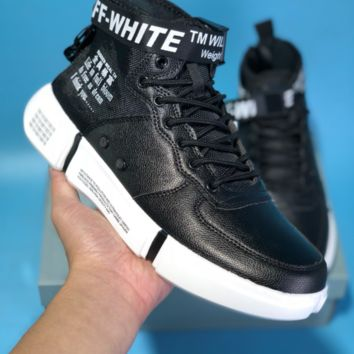 KUYOU N596 Nike Air Force 1 AF1 Off White TM Will 5400 High Leather Skate Shoes Black