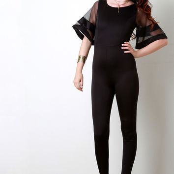 Scuba Contrast Mesh Bell Sleeves Jumpsuit