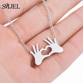 SMJEL Stainless Steel Charm Necklace Fashion Jewelry Double Hand Love Heart Necklace Pendant for Women Gifts Best friends bijoux