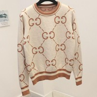ONETOW GUCCI new autumn and winter base Joker sweater round neck double g letter sweater Beige + Apricot