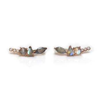 14kt Rose Gold Labradorite Wing Climbers