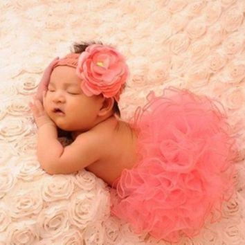 DCCKIX3 newborn baby girls cute headband headwear dress skirt photography props costume clothing set = 1945966212