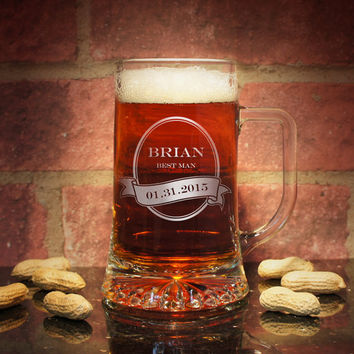 Gladiator Series Personalized Beer Mug (Each) with Engraved Groomsman Design Options & Font Selection OPTIONAL Monogrammed Bottle Opener