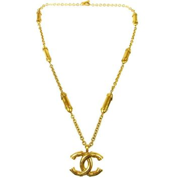 Chanel Vintage Gold Large CC Charm Medallion Chain Long Drape Necklace in Box