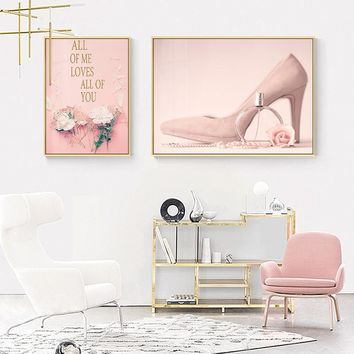 Nordic poster Flowers Rose Letter Nursery Art Prints Flower Letters Pink romantic girl posters and prints wall art for girl room