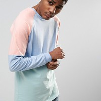 ASOS Longline Long Sleeve T-Shirt With Pastel Panelling In Heavy Jersey at asos.com