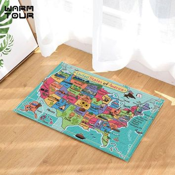 Autumn Fall welcome door mat doormat Cartoon Fun Facts Geography USA Map Bath  Home Decor Indoor Outdoor Entrance  Rubber Backing Bathroom Accessories AT_76_7
