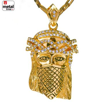 "Jewelry Kay style Men's Hip Hop Iced Out Mini Mask Jesus 24"" 4mm Figaro Chain Pendant Necklace Set"