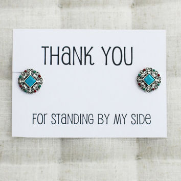Thank You For Standing by my Side Wedding Gift Woman Rhinestones Gift Card Earrings