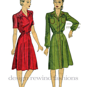 1940s Womens WWII Era Belted Day Dress/Frock with Yoke & Notched Collar, Short or Long Sleeves BUST 36- Vintage Du Barry 5469 Sewing Pattern
