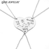 3 Piece Heart Personalized Hand Stamped big sis middle sis little sis 3 Sister Necklace Family Jewelry Sisters Gift
