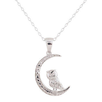 Sterling Silver Rhodium Plated Diamond Accent Owl on Moon Pendant, 18""