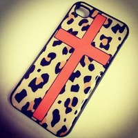 BLACK Snap On Hard Case IPHONE 4 4S Plastic Skin Cover - ORANGE CROSS LEOPARD cheetah print animal