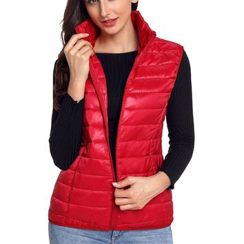 Chic Womens Red Quilted Cotton Down Vest