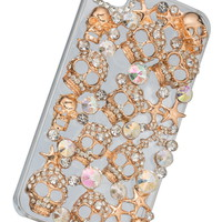 Embellished Skull And Star Phone Cover - Gold