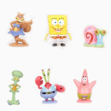 6pcs/set Sponge Bob Spongebob Miniatures PVC Action Figures Sandy Patrick Star Anime Figurines Collectibles Dolls Toys Gift #B