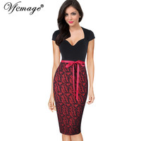 Vfemage Womens Sexy Elegant Cap Sleeve Belted Vintage Retro Pinup Slim Tunic Casual Party Club Evening Bodycon Pencil Dress 4395