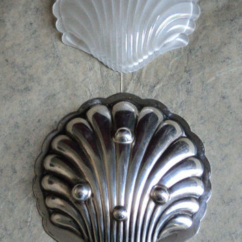 Antique French Art Nouveau Silver Butter Dish Shell Shaped Form Trinket Dish, Edwardian Silver Shell Dish Scallop Tray Butter Mould