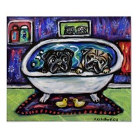 Pug bathtime poster from Zazzle.com