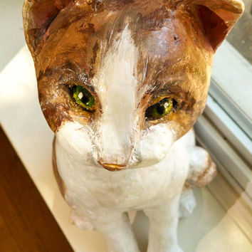 Cat Sculpture Paper Mache 14' x 8' | Paper Mache Animal | Paper Mache Cat | Animal Sculpture