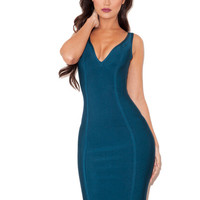 Clothing : Bandage Dresses : 'Calista' Peacock Blue V Neck Bandage Dress