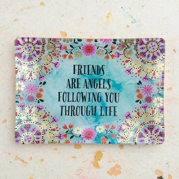 Friends Are Angels Glass Tray By Natural Life
