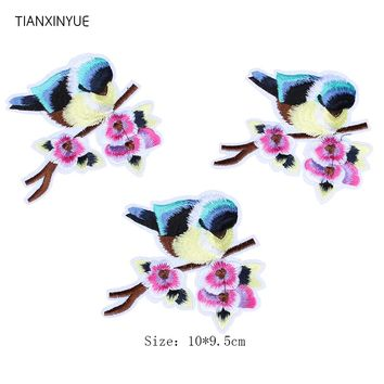 TIANXINYUE 10 pcs 10*9.5 cm bird Patches Iron On DIY Embroidered Appliques Sew On For Clothing fabric Bags Swallow patch