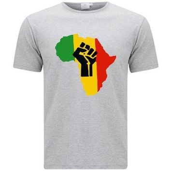 CREYXT3 New Africa Power Rasta Reggae Music Logo Men's Grey T-Shirt Size S-3XL T Shirt Hot Topic Men Short Sleeve T Shirt Fashion Tops