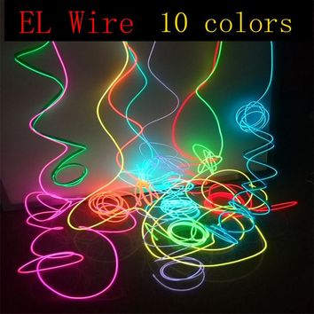 EL Wire 10 Colors Rope Tube Cable DIY Auto Car Interior Led Strip Light Flexible Neon Glow Party Decoration Dance Events Deco
